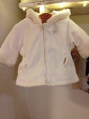 Next Girls 3-6 Month Fleecy Soft Coat. With Sparkly Bow. Excellent Condition