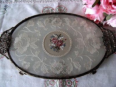 Vintage Petit Point & Lace Oval Dressing Table Vanity Tray Brass Filigree