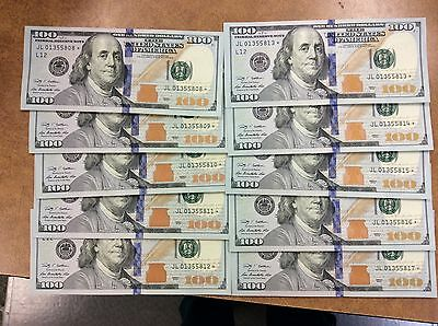 {BJSTAMPS} 2009 $100 DOLLAR BILL STAR NOTE lot of 10 CONSECUTIVE CU