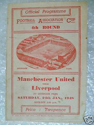 1948 FA Cup 4th RD MANCHESTER UNITED v LIVERPOOL, 24th Jan (very Rare)