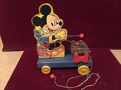 1939 MICKEY MOUSE XYLOPHONE Diisney WOODEN PULL TOY #798 Fisher Price Toy