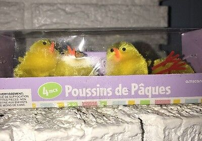 Chenille Easter Chicks Peeps Yellow w Bead Eyes Display Crafts