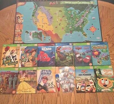 Lot of LeapFrog Leap Tag LED TOY STORY Reader Pen + 11 Books +US State Map Works