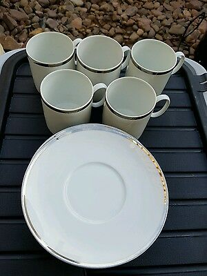 Thomas Germany Cups & Saucers White With Silver Rim 10 Pieces