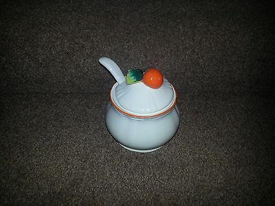 Vintage Marmalade Pot With Deep Spoon - White