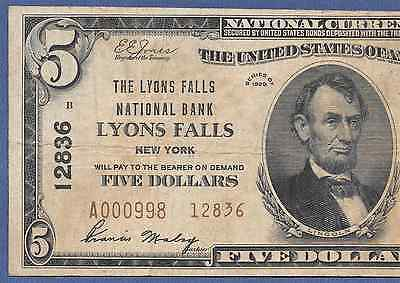 Ny  1929  $10 Type-Two ♚♚Lyons Falls, New York♚♚ Very Hard To Find!!!