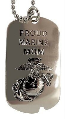 "US Marines  Dog Tag / Key Chain ""PROUD MARINE MOM"" Last 1, Discontinued Item"