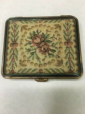 Unusual Vintage Tapestry Brass Powder Compact Mirror With Turquoise Base