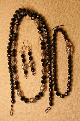 jewelry set necklace earrings bracelet Black bead silver tone beads