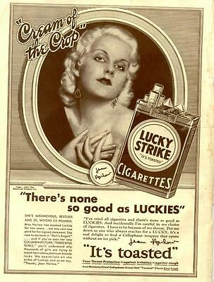 """JEAN HARLOW advertisement for LUCKY STRIKE 1932 """"Three Wise Girls"""""""