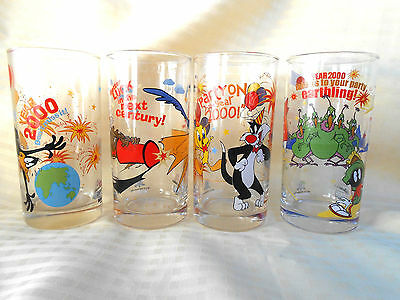 Four Vintage Collectable IXL Ltd Edition  Looney Tunes Glass Year 2000