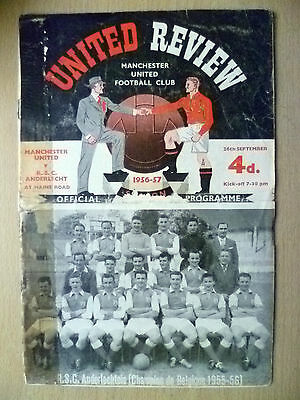 1956/57 European Cup- MANCHESTER UNITED v R.S.C. ANDERLECHT (Org*, Very Rare)