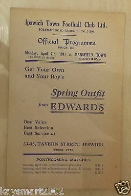 1946/47 Southern League: IPSWICH TOWN v MANSFIELD TOWN