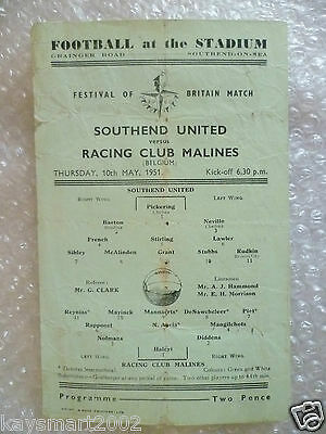 1951 Festival of Britain Match Southend United v Racing Club Malines( Belgium)