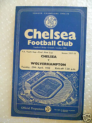 1958 FA Youth Cup FINAL CHELSEA v WOLVERHAMPTON, 29th April (Original*)