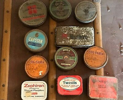 Assorted Vintage Tobacco Tins First Aid Tins X 11