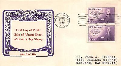 754 3c Imperforate Mothers Farley Issue, First Day Cover Cachet [E120652]