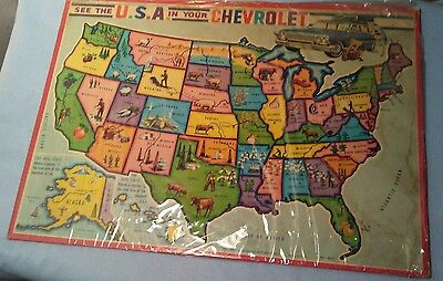 Vintage 1960s Paper Cardboard Puzzle SEE THE U.S.A IN YOUR CHEVROLET 50 states