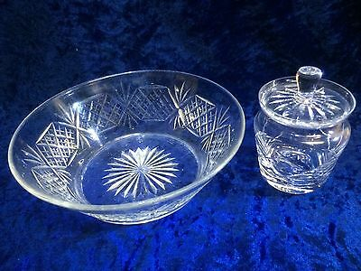 "Vintage Webb Crystal Salad Bowl, and Small Lidded Sugar bowl ""Both Branded Webb"""