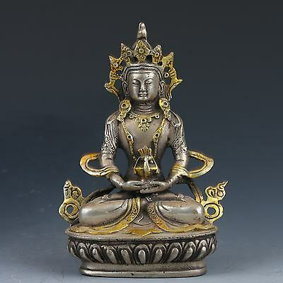Vintage Oriental Chinese Silver Copper Hand-carved Buddha Statue G502