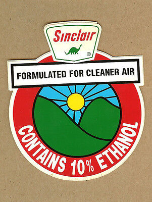 """Vintage SINCLAIR Dino Oil """"For Cleaner Air"""", 10% Ethanol Gasoline DECAL"""