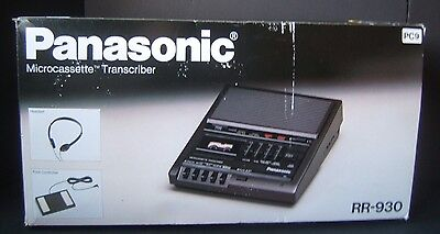 Panasonic Micro Cassette Transcriber RR-930 w/ Foot Control in Box Tested Works
