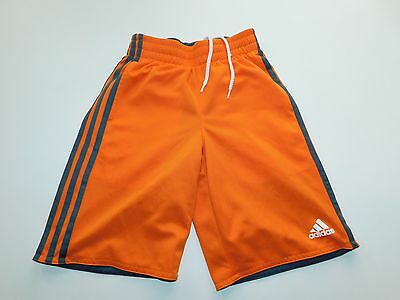 Adidas Boys Shorts Orange Size Small 8 S 3 Stripe Soccer Basketball Mesh Active