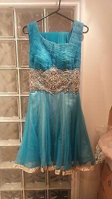 New Anarkali Dress / Shalwar Kameez Lenghas Bollywood Turquoise/gold Size 8-10
