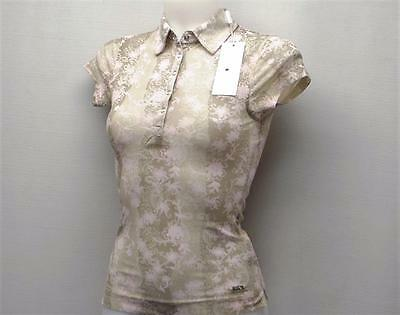 New Ladies Daily Sports lightweight sheer 100% nylon floral blouse golf top S