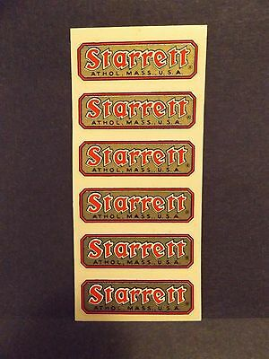 Vintage L.S. Starrett Co, Athol Mass USA Replacement Tool Box Stickers NOS