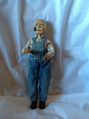 Rare Mary's Pioneer Hand Made WOOD & Cloth Grandpa with Pipe Doll Branson MO