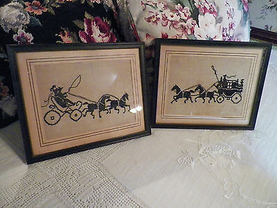 Antique Cross Stitch Linen Sampler Set of Two Black Silhouettes Under Glass