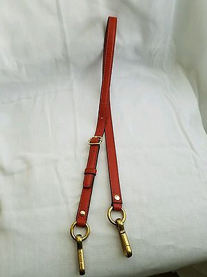 Coach Orange Leather Replacement Purse Strap With Gold Tone Clasps