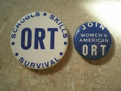ORT Women's American ORT Club Pins Pinbacks Buttons Two different Ones 1950s