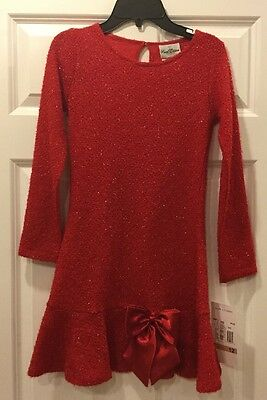 NWT RARE EDITIONS Girl's Red Long Sleeve Dress Size 12 New!
