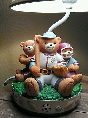 Ceramic Sports Theme Teddy Bear Table Lamp and Shade Kids Room bedside Lighting