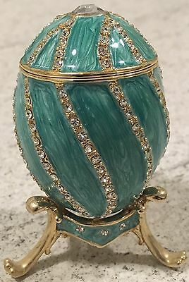 Faberge Turquoise Enamel & Crystal Egg And Stand Romanoff Romanov Box