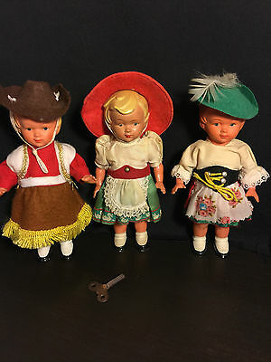 """Antique 3 German Celluloid Wind Dancing Dolls 6 1/2 """" Tall Good Cond. Works"""