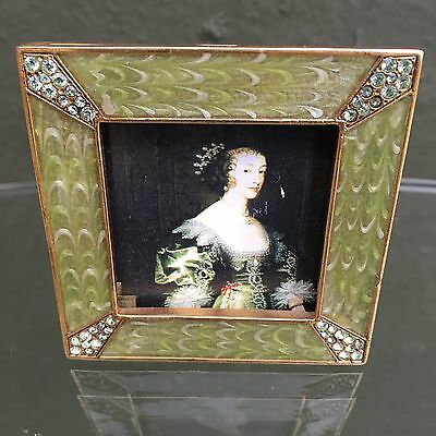 """Swarovski Crystal and Enamel Jay Strongwater 2"""" Small Picture Frame Faberge Look"""