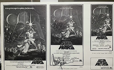 Carrie Fisher (Princess Leia) - Autographed Star Wars Ad Slick, Rare, One only!