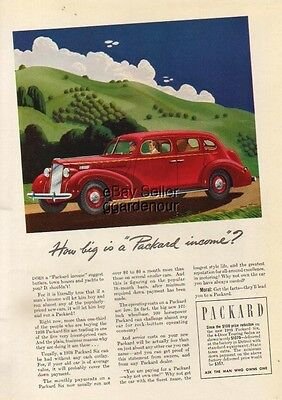 1938 Red Packard Six 4-Door Touring Sedan INCOME Car Ad