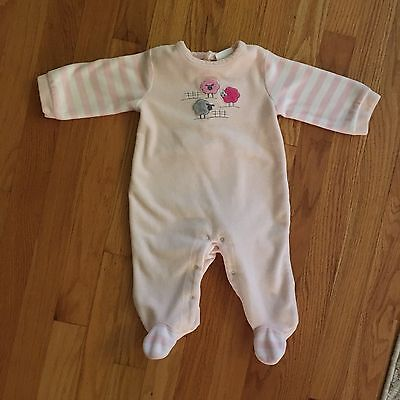 Absorba 3-6 Months Footed Sleeper Pajamas Baby Girl PJs Velour Pink Sheep