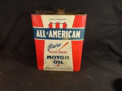 Vintage 2 Gallon All American Motor Oil Can Gas Garage