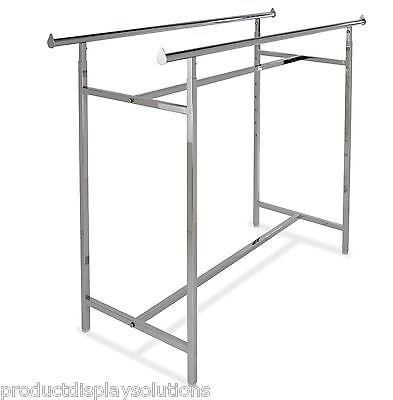 """Commercial Grade Clothing Double Bar H Rack   Adjustable Height 48""""-72""""   CHROME"""