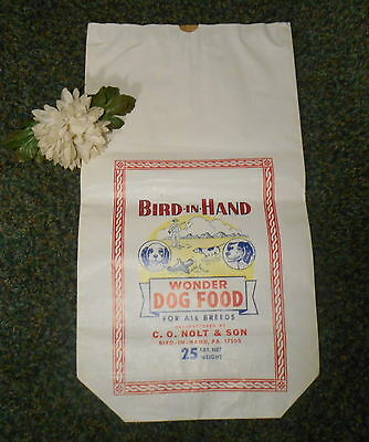 VINTAGE 1940's NOS BIRD IN HAND WONDER DOG FOOD FEED BAG 25LB  GREAT ADVERTISING