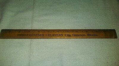 Wooden ruler Geneseo creamery Illinois IL cracked antique vintage