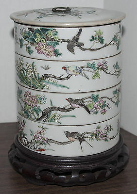 18-19 C Antique Chinese Famille Rose Porcelain Stacking Bowls with Lid-Pristine!
