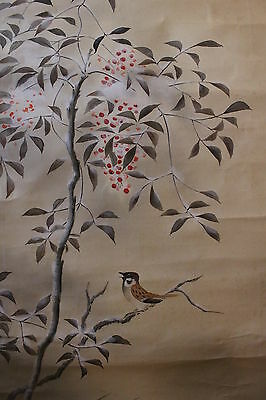 K00A1 ~旭 Rising Sun & 南天 Nandin with 雀 Sparrow~ Japanese Hanging Scroll