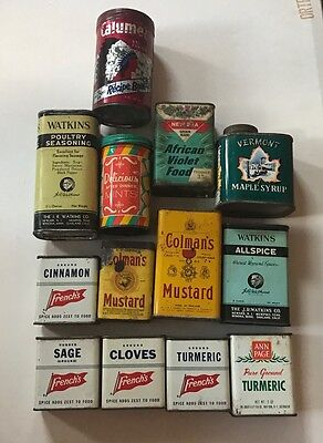 Vintage Spice Tin Lot of 13 Tins - Colman's, French's, Watkins