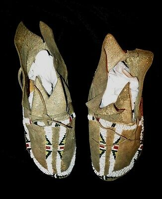 Rare Cheyenne Plains Indian Child's Moccasins c1880 Mint condition Sinew Sewn